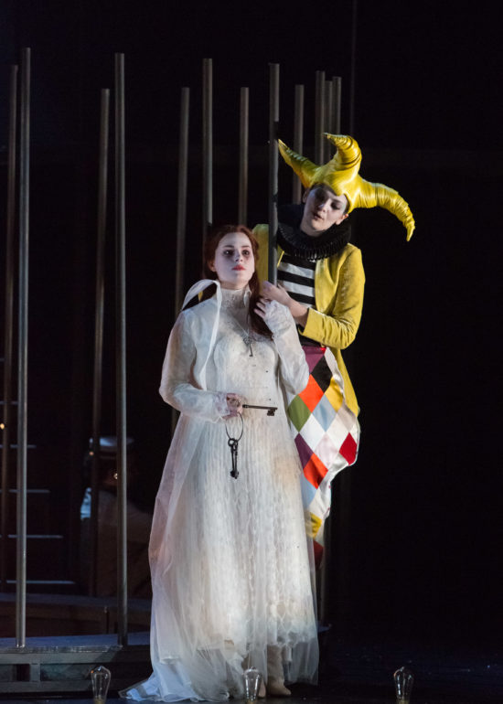 FANTASIO music by Jacques Offenbach, directed by Thomas Jolly at the Chatelet theater from 14 to 27 February 2017 FANTASIO opera comique de Jacques Offenbach, direction musicale Laurent Campellone, mise en scene Thomas Jolly dans le cadre de l'Opera Comique hors les murs au Theatre du Chatelet du 14 au 27 fevrier 2017. Avec : Marie-Eve Munger (La princesse Elsbeth), Marianne Crebassa (Fantasio)